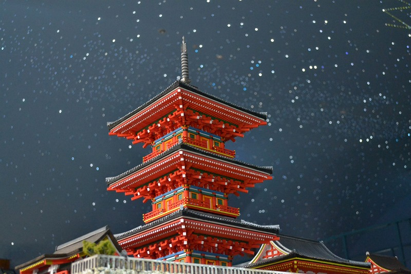 Kiyomizu-dera Temple's three-storied pagoda floating in the night sky